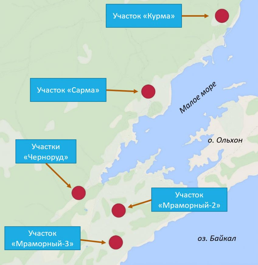 Overview map of scientific research in the Baikal region